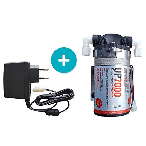 Umkehrosmoseanlagen Pumpe UP7000 High Flow Booster Pump 75GPD 24 Volt inkl. Netzteil 230v für Wasserfilter Osmose Trinkwasseraufbereitung
