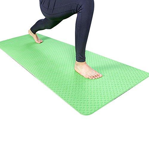 Hejiahuanle Professionelle TPE Yogamatte Umweltschutz geschmacksneutral Haarverdichtung verlängert Gymnastikmatte rutschsicheren Anfänger 8mm, Grün