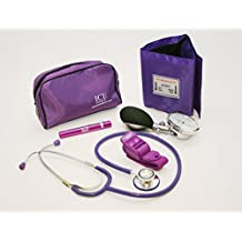Purple Aneroid Blood Pressure Sphygmomanometer Monitor, Stethoscope, Pen light (Pen Torch) and