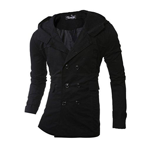 WPEW-Men's Coats Hommes Double-Breasted Windbreaker Jacket Fashion Simple Pure Color Long Manteau à Capuchon pour Hommes
