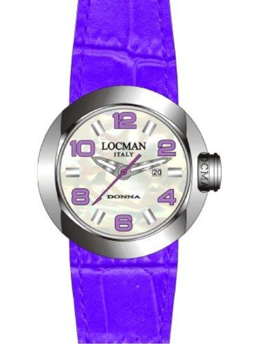Locman One Donna - Reloj analógico de mujer de cuarzo con correa de piel lila - sumergible a 50 metros