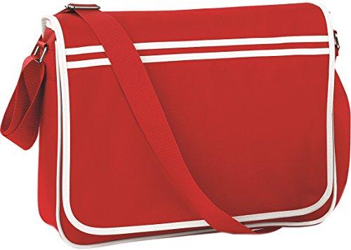 Bagbase-Borsa vintage regolabile a contrasto, stile Messenger-Borsa a tracolla, taglia unica Classico rosso/bianco