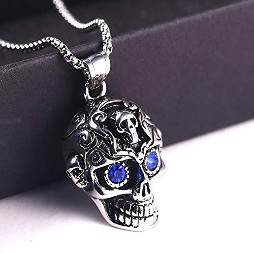 Burenqi Mode Punk Gotik Skelett Anhänger Männliche Halskette Silber Gold Edelstahl Mit Blue Eye...