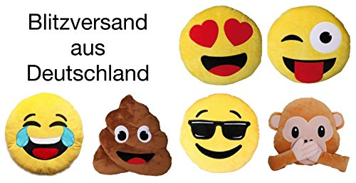 Bada Bing Emoji Kissen 1048 Affe Monkey Äffchen ø 30 cm Smiley rund Sofa Couch Whats App Emotion (Panther Denken)