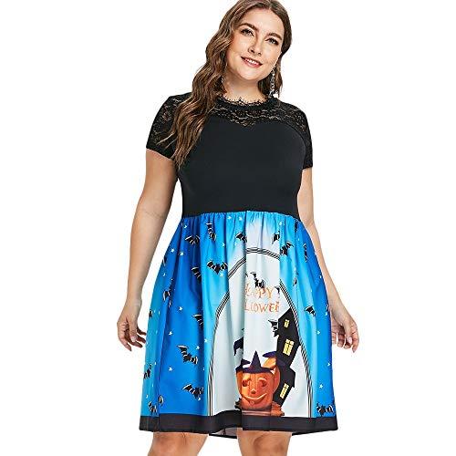 Shuxinmd Sexy und eleganter Rock Plus Size Kürbis Print Happy Halloween Kleid Für Dein tägliches Tragen (Size : 5X) (Plus Halloween Happy Size)