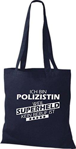Shirtstown Stoffbeutel Ich bin Polizistin, weil Superheld kein Beruf ist Navy