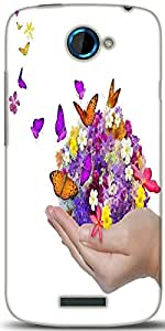 Snoogg Hand Holds Flower Spill Many Flowers And Butterfly Designer Protective Back Case Cover For HTC One S