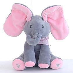 SODIAL Elefante Muneco Elefante de Peluche Animal de Relleno Elefante Reproducir Musica Juguete Educativo antiestres para ninos