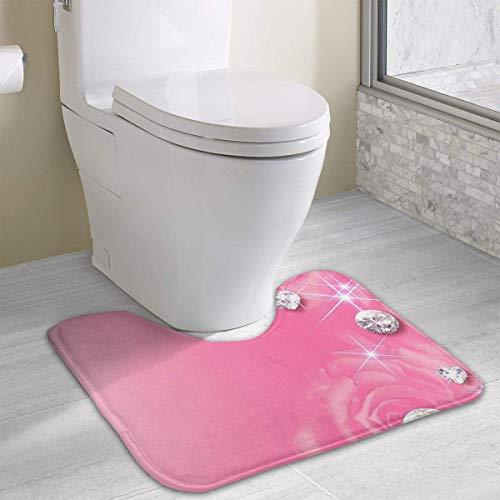 Hoklcvd Pink Diamond Rutschfeste Kontur Badematte für WC, saugfähiges Wasser, perfekt für Badezimmer
