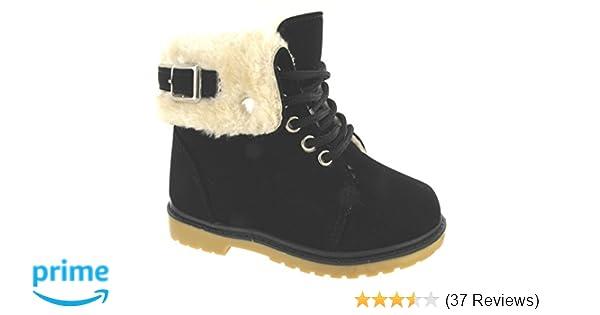 KIDS GIRLS CHILDREN FLAT GRIP SOLE ZIP FUR LINED ANKLE SNOW WARM BOOTS SIZE 8-13