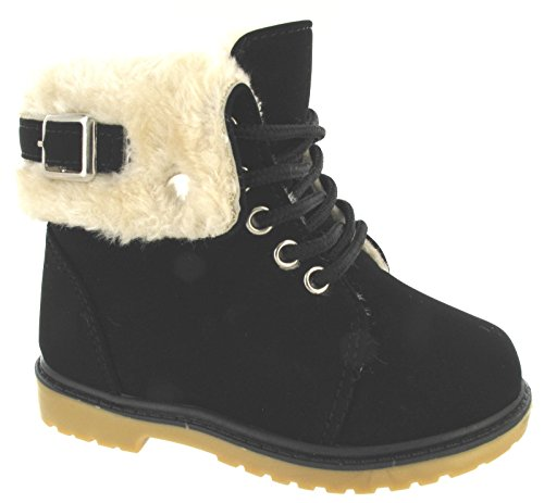 KIDS GIRLS BOYS HI HIGH TOPS FAUX FUR LINED FLAT TRAINERS ANKLE WHITER BOOTS SZ