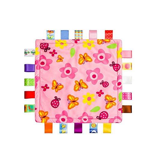 Baby Girl rose Tag Couverture de sécurité - Sécurité en peluche Consolateur Couverture, Super Soft Toy Couverture de sécurité Le meilleur cadeau de douche pour bébé
