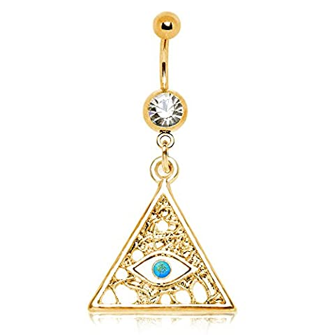 Gold überzogenes Illuminati Tyramid Auge baumeln Chirurgenstahl baumeln Bauchn 1,6 mm x 10 mm (Gold Überzogenes Onyx Stud)
