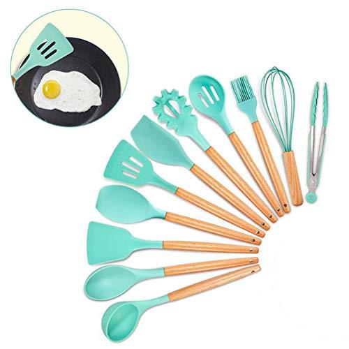 koowaa 11-teiliges Silikon-Kochutensilien-Set, Bambus-Holzgriffe, Kochwerkzeug, ungiftiges Silikon, antihaftbeschichtete Pfanne, Küchenutensilien