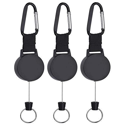 Pudiman Retractable Schlüsselanhänger Heavy Duty Schlaufenclip mit Federhaken und 65cm Stahldrahtseil für Schlüssel, Ausweis 3 Stück