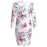 Amphia - Kleid mit Langen Ärmeln für Schwangere - Frauen Mutterschaft Langarm Blumendruck Kleid Mutterschaft Sommerkleid Kleidung(Weiß,L)