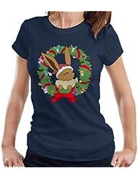 Eevee Christmas Wreath Pokemon Womens T-Shirt