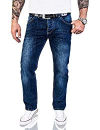 75745c7530f541 Lorenzo Loren Herren Jeans Hose Denim Jeans Used-Look Regular-Fit W29-W44