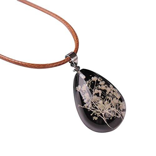 JYJM - Damen Luminous Dried Flower Teardrop Anhänger Halskette Charm Chain Jewelry Perlenkette Acryl rot schwarz weiß Perlen Halskette Kette Pfau Ohrhänger Boho Feder