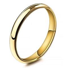Idea Regalo - MunkiMix Larghezza 3mm Acciaio Inossidabile Anello Anelli Banda Oro Tono Matrimonio Dimensioni 14 Uomo,Donna