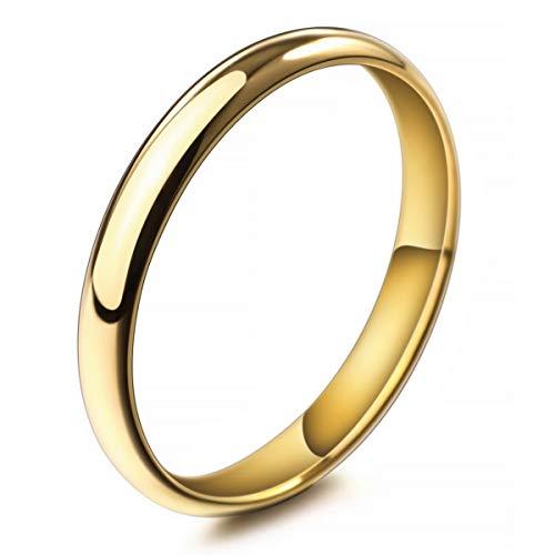 MunkiMix Breite 3mm Edelstahl Ring Band Golden Ton Hochzeit Größe 52 (16.6) Herren,Damen