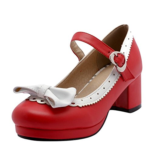 Agodor Damen Rockabilly Chunky Heels Pumps mit Riemchen Schleife und Blockabsatz 5cm Absatz Schuhe Chunky Heel Pumps