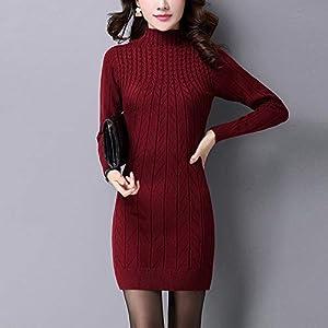 AGZDQTWVHerbst Gestrickte Baumwolle SolideDünne StehkragenFrauen Kleider Elastische Plus Größe S-3xl Sexy Winter Warm