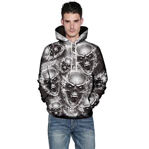 TWBB Herren Halloween Hoodies Slim Fit 3D Schädel Digital Bedruckte Kapuzenpullover Langarm Fashion Graphic Mantel Outwear Sweatjacke