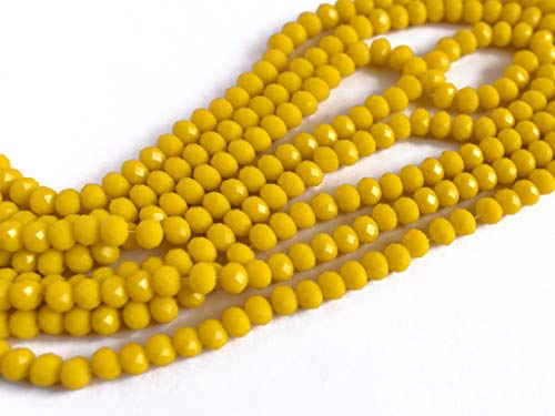 The Design Cart Yellow/Lemon Opaque Tyre/Rondelle Faceted Crystal Beads (2 mm) (1 String) for - Jewellery Making, Beading, Embroidery, Art and Craft