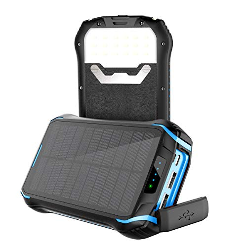 Soluser Powerbank 26800mAh Caricabatterie Portatile Solare Powerbank, 9.3A 3 Porte USB Batteria Esterna con 2 Porte di Entrata(Type-C & Micro USB) e 18 Bright LED Per Huawei, Samsung, iPhone, Xiaomi