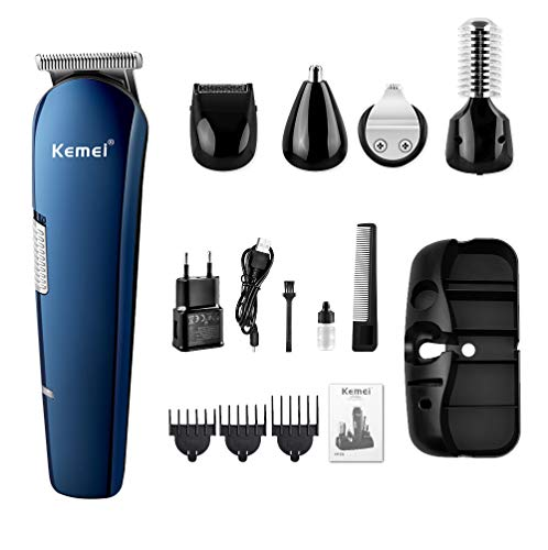 Haarschneider, Herren Elektrische Haarschneidemaschine 5 in 1 Herrenpflege Set, Kemei Nasenhaarschneider, Beschriftung Trimmer, Körperhaartrimmer, Mikrorasierer, Haarschneider für Männer - Blau - Electric Razor Body