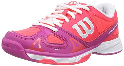 Wilson RUSH PRO JUNIOR, Unisex-Kinder Tennisschuhe, Mehrfarbig (Neon Red Wilson/Fiesta Pink Wilson/White), 38 1/3 EU (5 Kinder UK)