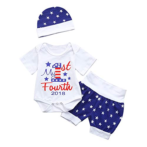 OVINEE 3Pcs Infant Baby Girls Boys 4. Juli Star Romper + Shorts + Hat Outfits Kleidung Overall Kleidung My 1st Forth