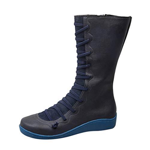 KUDICO Damen Boots Frauen Winterstiefel Casual Flache Schuh Leder Schnürstiefel Seitlicher Reißverschluss Hohe Stiefel(35 EU, Blau)