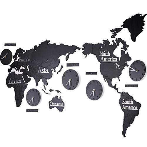 Yhz@ Carte du monde européen horloge murale personnalité silencieuse salon chambre décoration murale décoration intérieure décoration murale autocollants, fonctionnement de la batterie Horloge murale