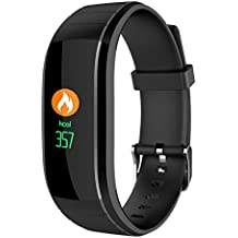 Hmhope Bluetooth Inteligente Pulsera Deporte PodóMetro 0.96 Pulgadas OLED Color Pantalla Tiempo Real Ritmo CardíAco/PresióN SanguíNea Monitoreo Multi-Sport Modo Impermeable Fitness Tracker , Negro