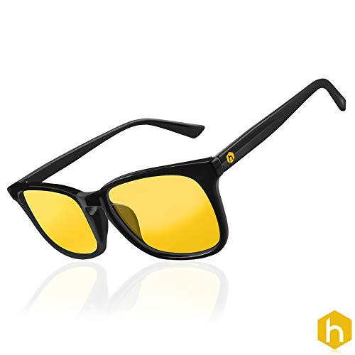 Hex Computerbrille, UV-Schutz, blendfrei, lässt kein blaues Licht durch, bernsteingelbe Gläser