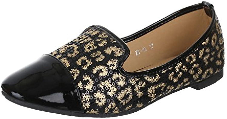 Ital-Design Damen Schuhe ZT-10 Halbschuhe Pailetten BESETZTE Leo Print