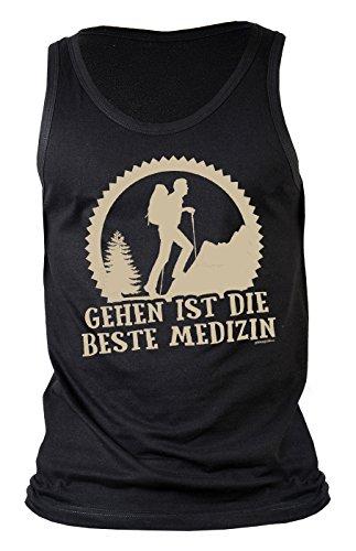 Herren Tank Top für Bergsteiger - Gehen ist die beste Medizin - Wandern - Bergwandern - Geschenk - Muskelshirt - Oberteil - shirt - schwarz Schwarz