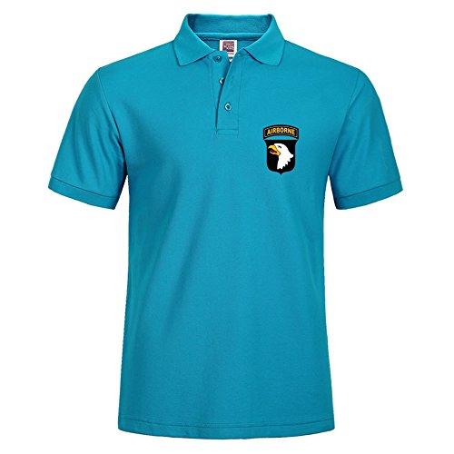 Solide Polo mit Airborne-WK2militee. uns Druck Sommer Sport Shirt Größe xl blau Airborne Sweatshirt