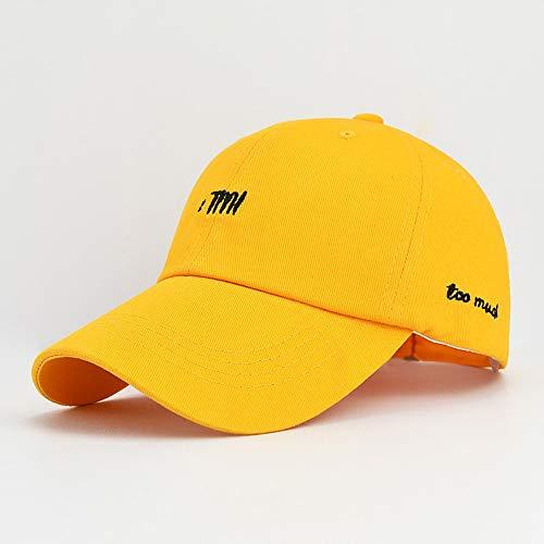 Klassische Baseballmütze Dad Kappe 100% Cotton Soft veränderbare Länge Hat Ball-Kappe, Sport-Kappe, Sonnenhut, Sonnenhut, Moderne Wilde, Qualitäts-Baumwollmaterial, Bequeme Textur (Color : Yellow)