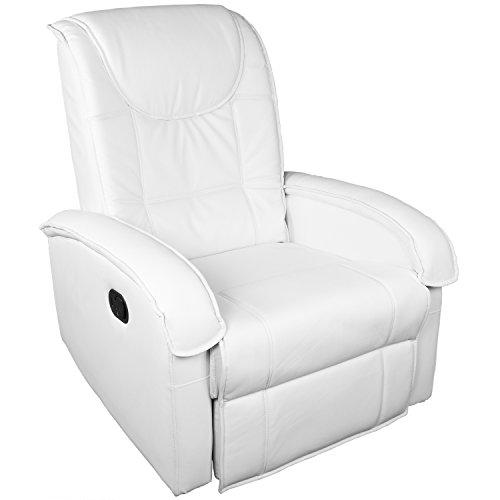 STILISTA TV Relaxsessel aus Kunstleder, mit ausklappbarer Fußstütze, Bequeme Polsterung, Farbe weiß, schadstoffgeprüft -