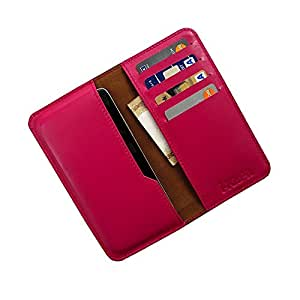 i-KitPit : Genuine Leather Wallet Flip Pouch Case For Lava Xolo Q700s (PINK)