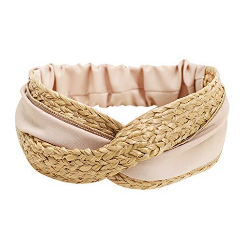 TMOTYE Damen Haarband Sommer,❀Frauen SchöNer Haarbänder Elegant Zweifarbiges Mosaik Raffia Stoffkreuz Haarband einfaches Haarband