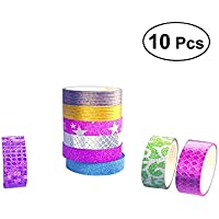 TOYMYTOY Glitter Washi Tape DIY Kit de cinta decorativa para manualidades 10PCS