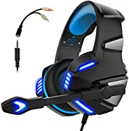Micolindun Gaming Headset for Xbox One, PS4, PC, Over Ear Gaming Headphones with Noise Cancelling Mic LED Ligh