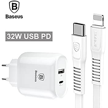 Baseus 32W Type C PD Fast Charger for iPhone X 8 Samsung + 2A PD Fast Charging Type C Cable.