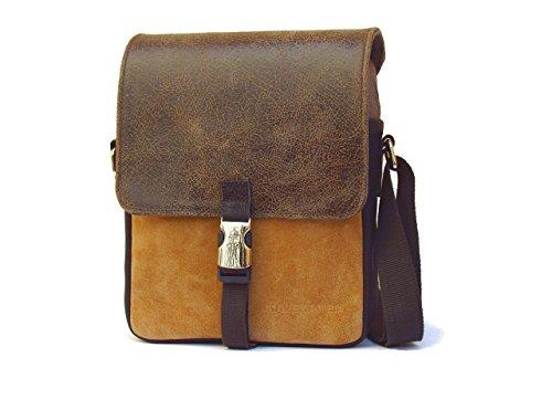 Herren-Umhängetasche aus Leder und Baumwolle. Umhängetasche für Männer braun Farbe . Herren kleine Tasche mit Klappe.