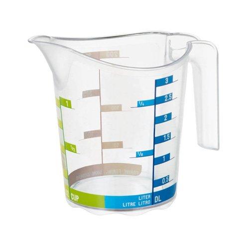 Rotho 1750410379 Mess-Becher DOMINO, transparenter Messbehälter mit farbiger Skala aus Kunststoff SAN BPA-frei, Inhalt 0,3 Liter, ca. 12,3 x 8,6 x 10,5 cm (Messbecher Oz)