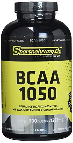 Sportnahrung.de BCAA 1050 - hochdosierte Kapseln mit freien BCAAs im Verhältnis 2:1:1, zur Unterstützung von Muskelaufbau und erhalt, 300 Kapseln